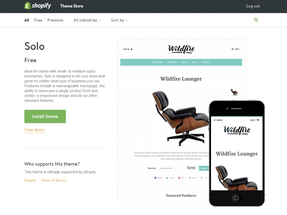 Shopify Solo theme