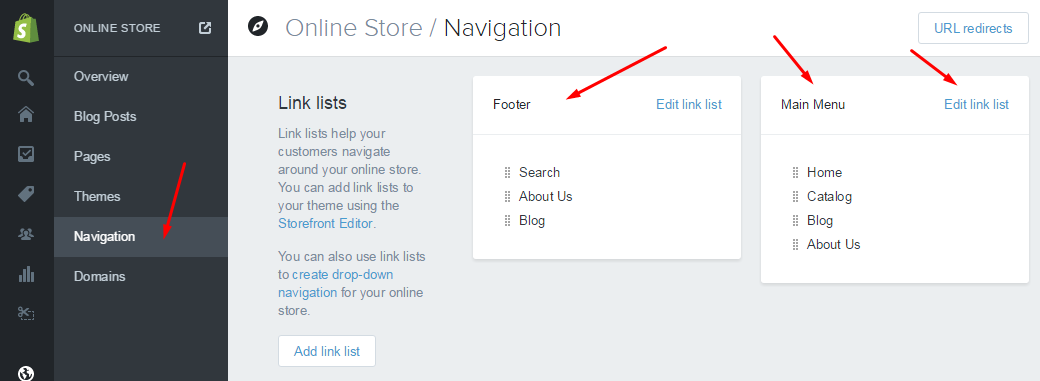 Shopify Navigation editing